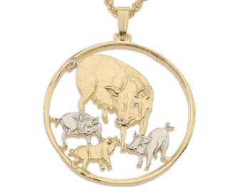 """Mother Pig and Babies Pendant and Necklace, Isle Of Man Coin Hand Cut, 14 Karat Gold and Rhodium Plated, 1 1/4"""" in Diameter( # 469 )"""