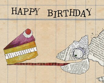 Postcard Happy Birthday Chameleon