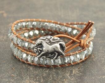 Horse Bracelet Silver Ice Blue Horse Jewelry Equestrian Jewelry Unique Sparkling Double Leather Wrap Bracelet