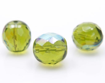Fire polished, 12mm, 20 pcs, 1.2mm hole, Olivine AB, Faceted round, Czech glass beads, 50230/28701, FP12-16