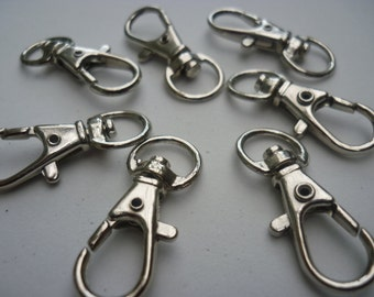 50 Lobster Swivel Clasps for Key Ring Silver Tone - 3.2cm x 1.3cm - FD816