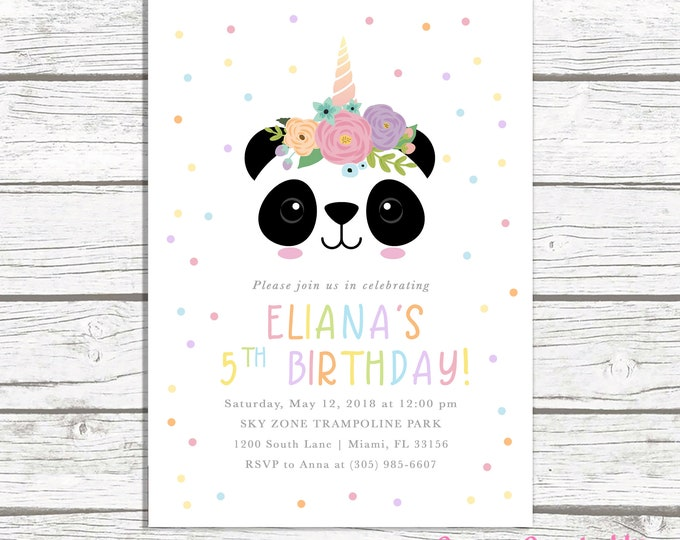Panda Invitation, Panda Birthday Invitation, Panda Face Invitation, Pandicorn Birthday Invitation, Rainbow Birthday Party Invitation Girl