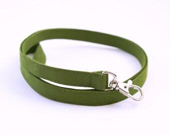 Olive Green Lanyard - Thin Lanyard  - 1/2 In. Wide Key Lanyard - Key Strap - Teacher Lanyard - Solid Plain Color - Mens - 15.5-19.5 In. Long