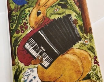 Notecard: Accordion Rabbit