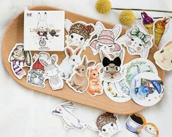 Bunny stickers, planner stickers, mini sticker, cute stickers