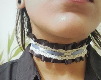Black Gothic Lolita Ribbon Choker