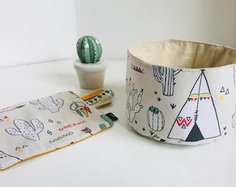 Small storage basket fabric Indian theme / empty Pocket / basket