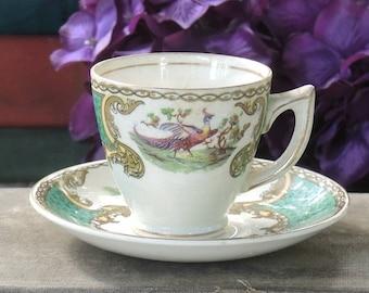 Myott Staffordshire Chelsea Bird Green Demitasse Footed Tea Cup Set
