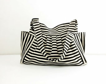 Striped Denim bag Cotton bag Canvas Bag Diaper bag Shoulder bag Hobo bag Tote bag Messenger bag Purse  Cream&Black  Jamie