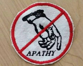 Embroidered No Apathy Upcycled Canvas Iron On Jacket Hat Feminist Punk Protest Vintage Graphic Patch