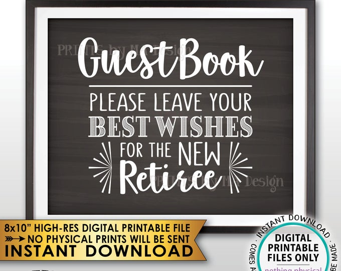 "Retirement Party Guestbook Sign, Leave Best Wishes for the new Reitree, Retirement Decor, Chalkboard Style PRINTABLE 8x10"" Instant Download"