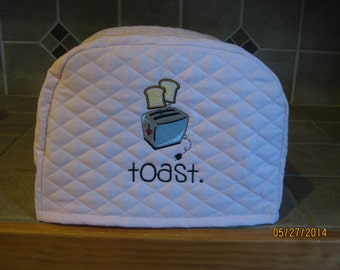 2 or 4 slice small appliance toaster cover with toast popping out, LIGHT PINK