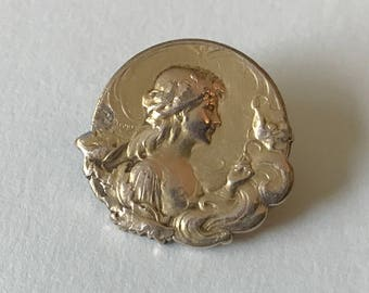 Art Nouveau Gold Plated Brooch Small Brooch Womans Signed Dropsy French Jewelry