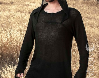 "Men's ""ChainMail"" Mesh Knit Hooded Tunic Top in Black by Opal Moon Designs (Size XS-XXL)"
