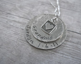 Grandma Sterling Silver Stacked Personalized Hand Stamped Necklace