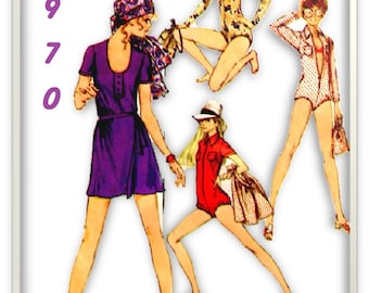 1970 Simplicity 8880 Size 10 Misses Body-Suits Leotard Mini Front- Wrap Skirt Drawstring Bag Cover-Up Mini Wrap Onies Sewing Pattern PC