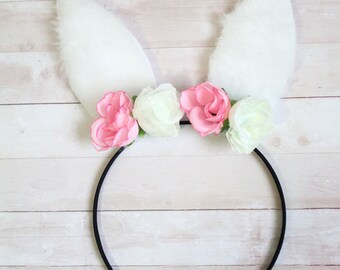 White Furry Floral Easter Bunny Ears Headband with Pink & White Flowers