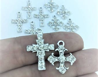 Cross Charms - Set of 10 Silver Crosses Charms (2 Assorted Styles)