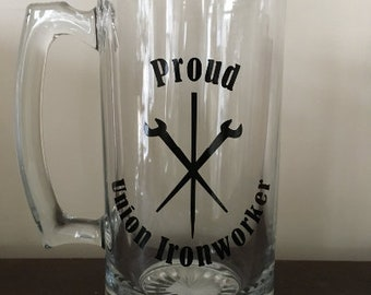 Proud Union Ironworker Beer Mug