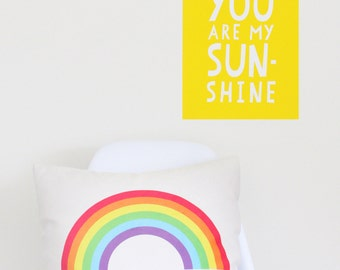 Wall Decal, Kids Poster, You Are My Sunshine, Kids Art Fabric Peel and Stick Poster, Kids Room Decals, Sunshine Art, Nursery Wall Art