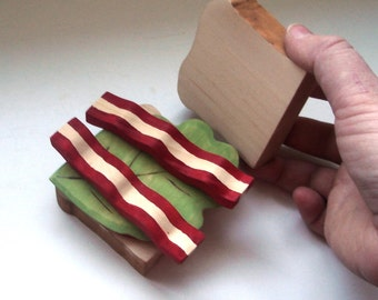 BLT sandwhich with bacon, lettuce and tomato handmade wooden toy play food