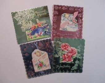 Vintage Embossed Metal Foil Greeting Cards-Set of 4-UNUSED