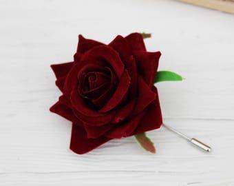Red Rose boutonniere Wedding accessories Men's boutonniere Wedding flowers Fall wedding Men's accessories