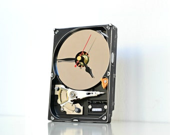 Office Desk Clock - Techie Housewares - Computer Hard Drive Clock - Modern Industrial Decor