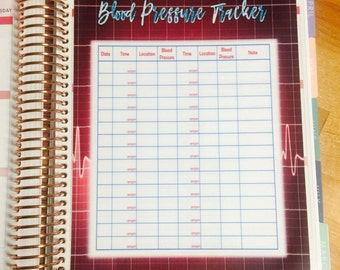 DASHBOARD - Blood Pressure Tracker for use with Erin Condren OR Happy Planner