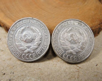 Antique Sterling Silver Coin - 10 kopecks - 1927 and 1925 - c59