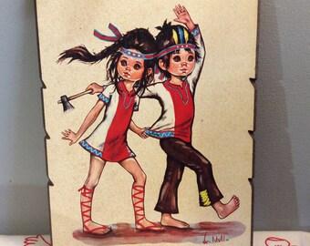 F. Idylle Childrens Print, F. Jolylle, Big Eye Art, 1960's Kawaii picture, 1960s Kitsch Art, Collectible 60's Art