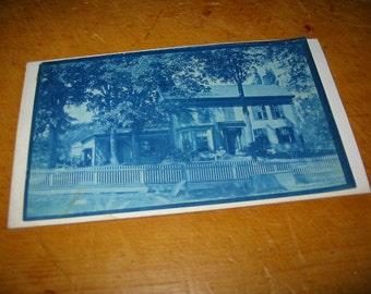 Antique Cyanotype House Portrait Photograph Antique Architectural Photo Old Residential Photo Landscape