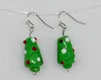 Christmas Tree Glass Lampwork Beaded Earrings