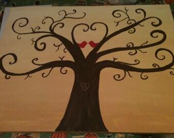 Hand Painted Fingerprint Wedding Guest Book Tree 16 x 20