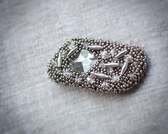 Gray brooch - Metallic beaded jewelry - Ready to ship now gift under 50 USD for her for him unisex - Shining metal work
