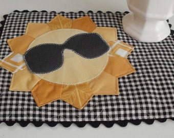 Mr. Sunshine Mini Quilt Mug Rug PDF Pattern Tutorial - Sunglasses and Sun