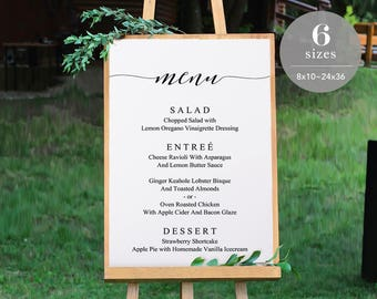 Wedding Menu Sign Template, Printable Wedding Menu Board, DIY Wedding Menu Poster, Wedding Sign, Editable PDF, Instant Download #SPP007ms
