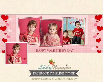 INSTANT DOWNLOAD Valentine's Day Facebook Timeline Cover Photoshop Template - F129