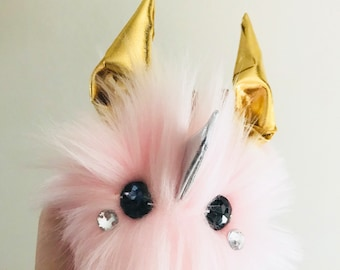 Easter Bunny Keychain Pink Pom Pom Purse Charm Bag Accessory Pink Handmade Unicorn Girly Cute Gift Pet