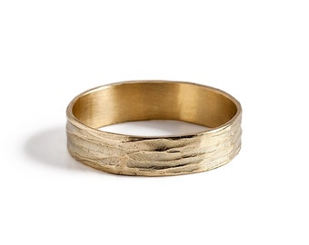 Mens Unique Wedding band, 14K gold Wave Wedding Ring.