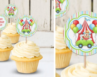 Circus - Birthday Party Instant Download - EDITABLE PDF, DIY Cupcake Toppers, Favor Tags, Party Stickers, Printable Labels