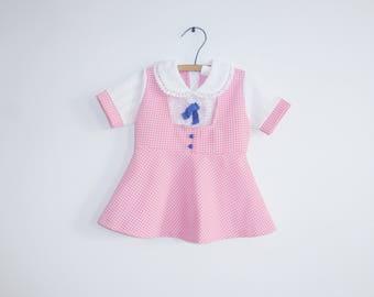 Vintage Pink Polyester Baby Dress