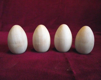 4 Wooden Pigeon Eggs 2 inch with flat bottom