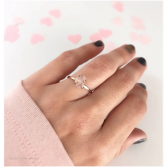 lamoon flower natural ring regard adjustable with wedding the rose stylish rings to pink quartz