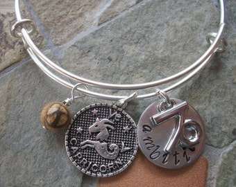 Capricorn Adjustable Bangle - Zodiac Jewelry - What's Your Sign - Earth Element - Horoscope Bracelet
