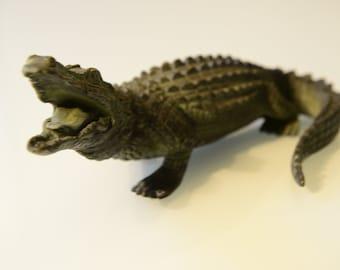 crocodile, caiman, alligator, reptile, bronze sculpture, very good condition