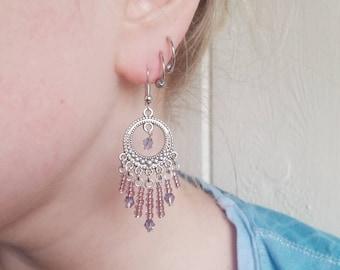 Handmade Link Lavander Chandelier Earrings