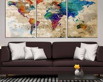 World Map Wall Art, World Map Canvas, World Map Print, World Map Poster