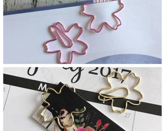 Pink or Gold Flower Paperclip Set
