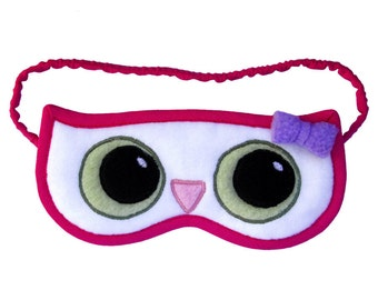 Owl sleep mask, Woodland animal sleeping eye mask, White forest bird blindfold, Pink animal owl totem, Graduation gift, Spirit wisdom symbol